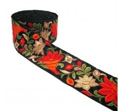 Embroidery Embroidered border in orange and black silk 7 cm wide Babachic by Moodywood