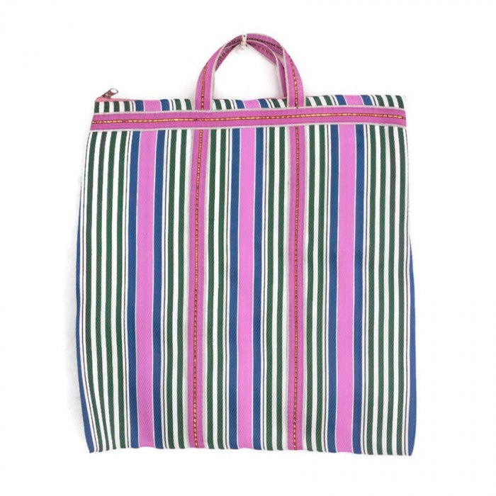 Pink, green and blue Indian striped simple bag