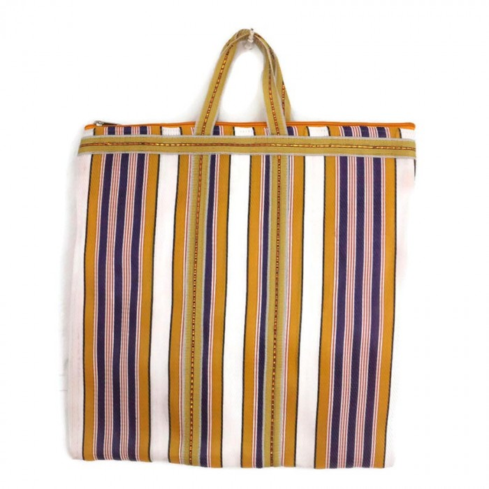 Yellow and purple Indian striped simple bag