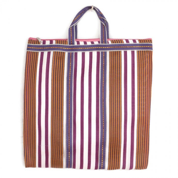 Brown and purple Indian striped simple bag