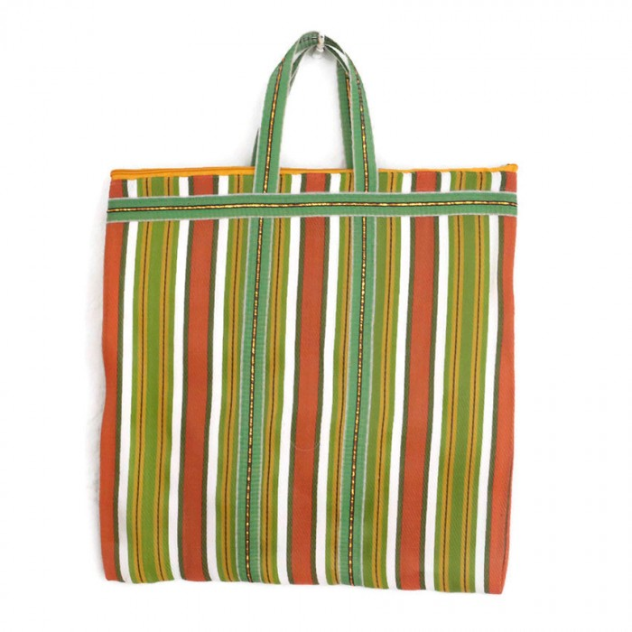 Green and orange Indian striped simple bag