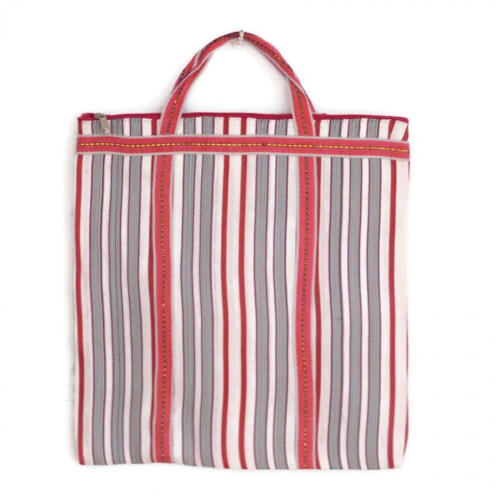 Red and white Indian striped simple bag