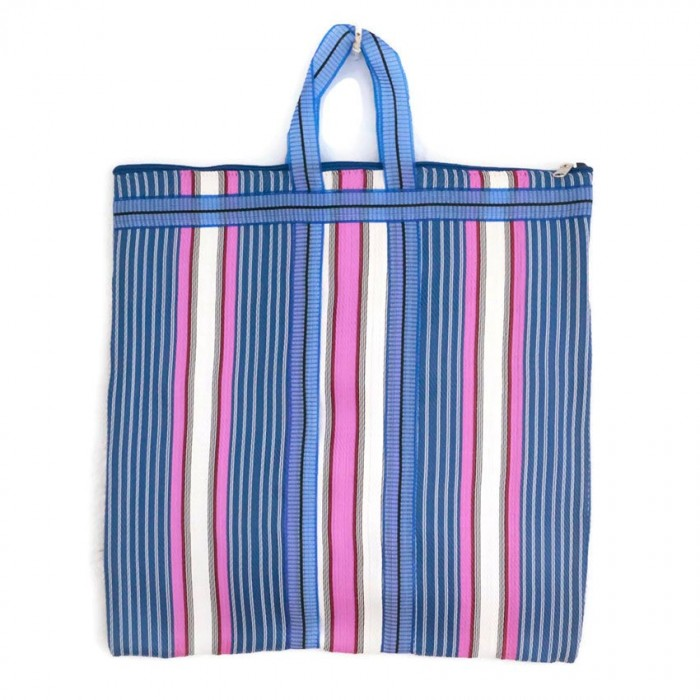 Pink and blue Indian striped simple bag