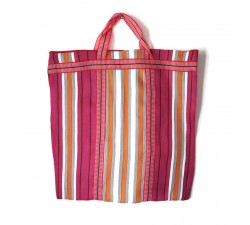Tote bags Cabas indien simple rayé magenta et orange Babachic by Moodywood