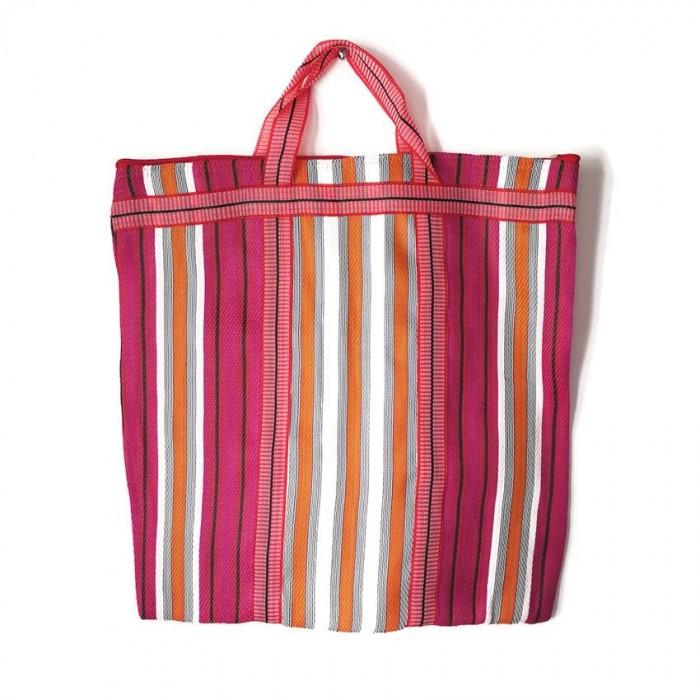 Magenta and orange Indian striped simple bag