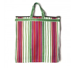 Magenta, orange and green Indian striped simple bag