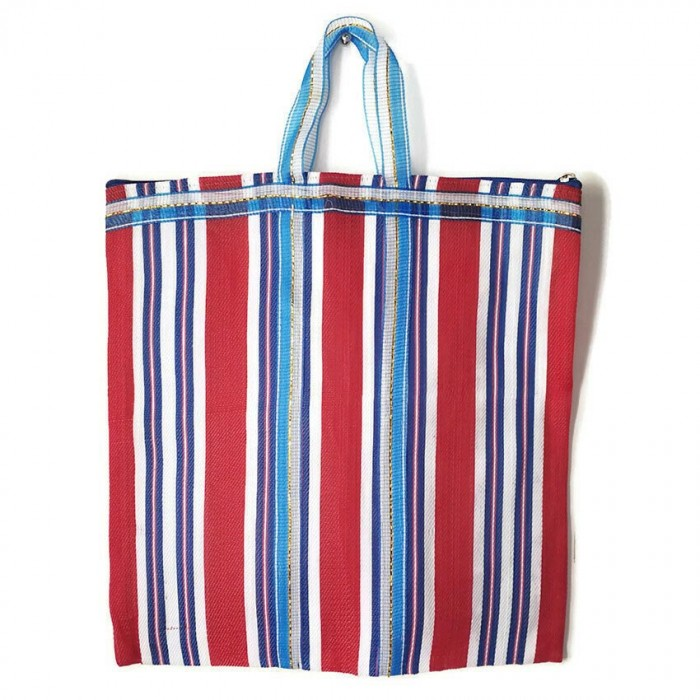 Red and blue Indian striped simple bag