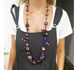Mid length black aubergine spirals necklace