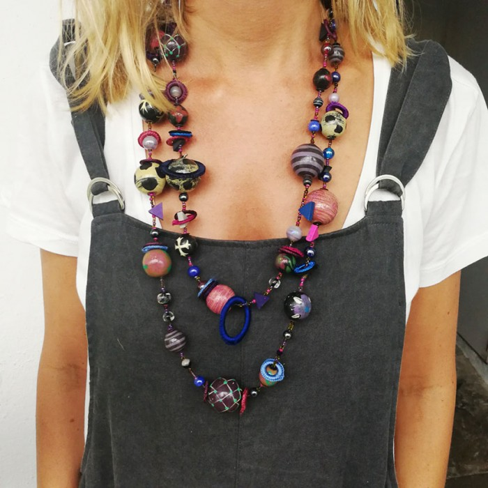 Fancy long necklace black eggplant