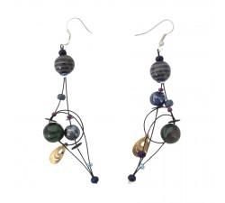 Fine black purple earrings