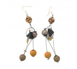 Fine brown orange earrings