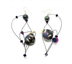 Earrings Black and purple Butterfly earrings Babachic by Moodywood