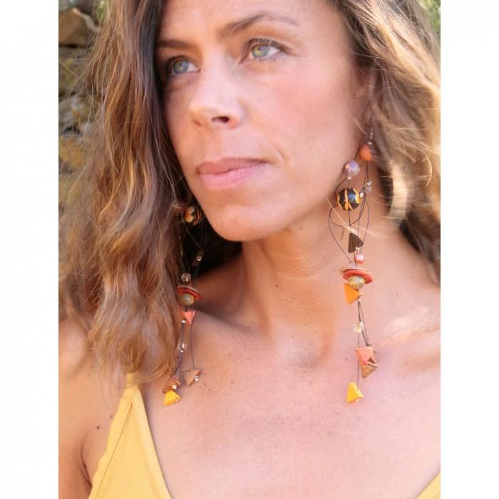 Orange brown extra long earrings