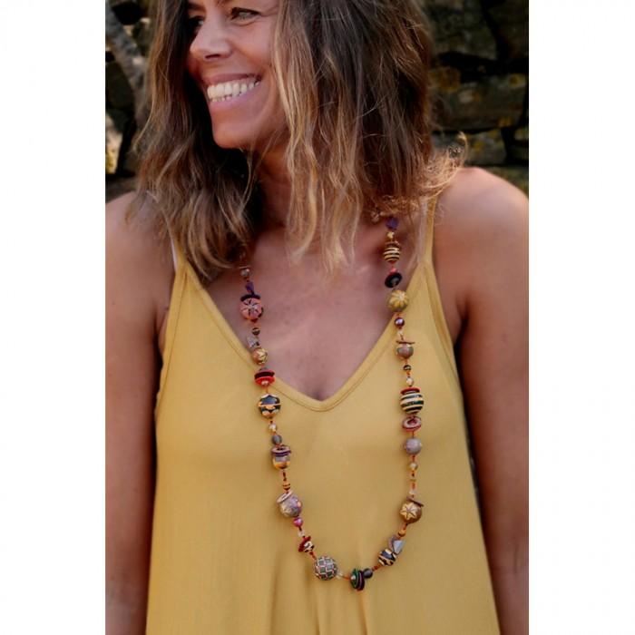 Medium brown orange necklace
