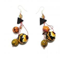 Boucles d'oreilles Boucles d'oreilles Fleurs 7 cm marron orangé Babachic by Moodywood