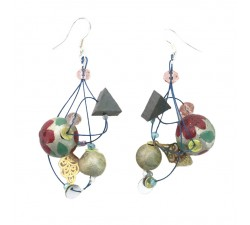 Earrings 5 cm silver and red
