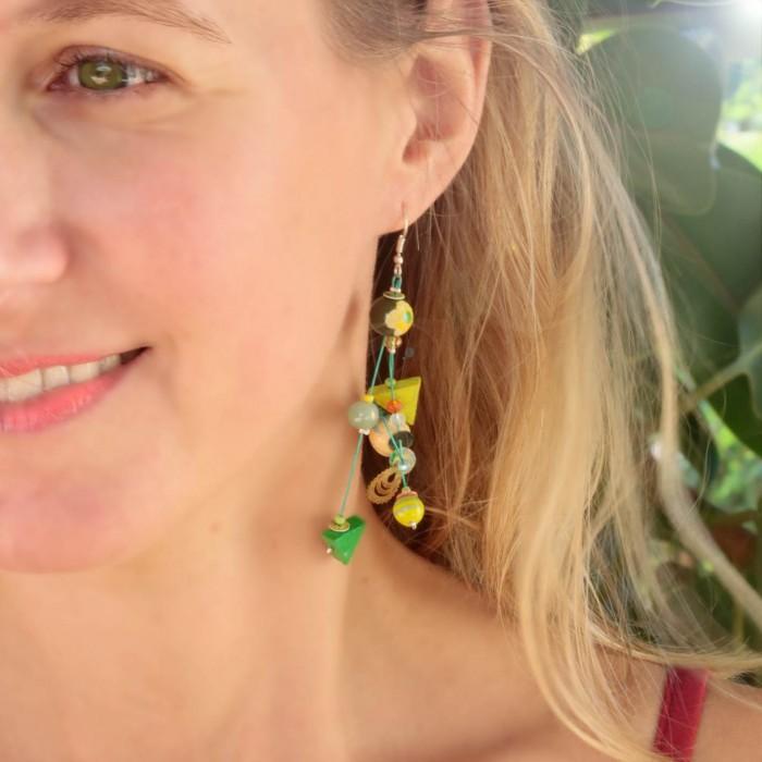 Green Gypsies earrings 7 cm
