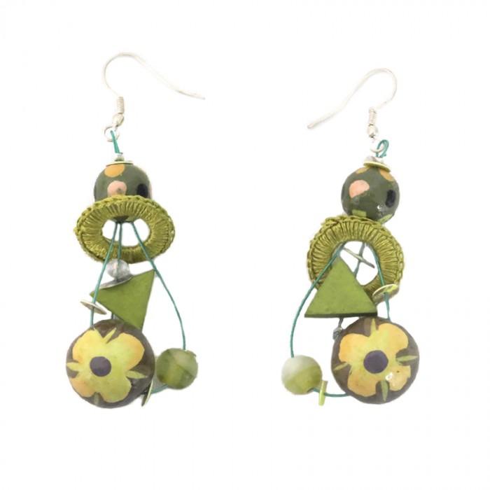 Beads earrings khaki 5 cm
