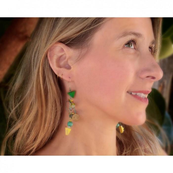 Fine green Delta earrings 7 cm