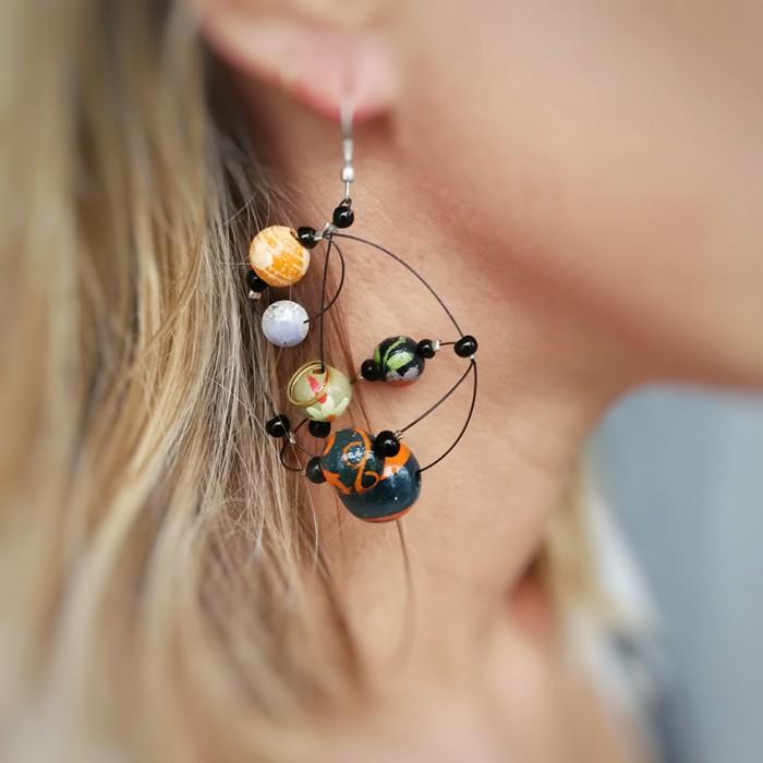 Round orange brown earrings