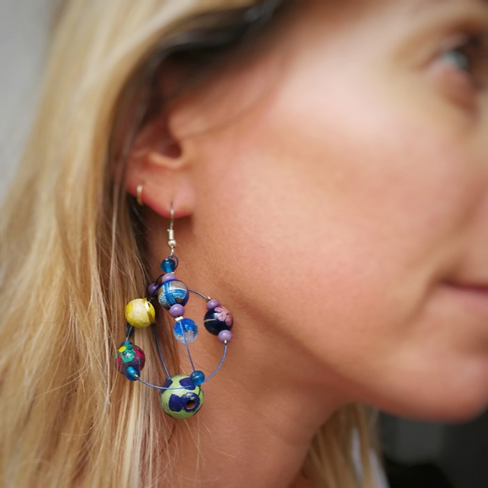 Round yellow and blue earrings