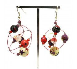 Round red and purple earrings