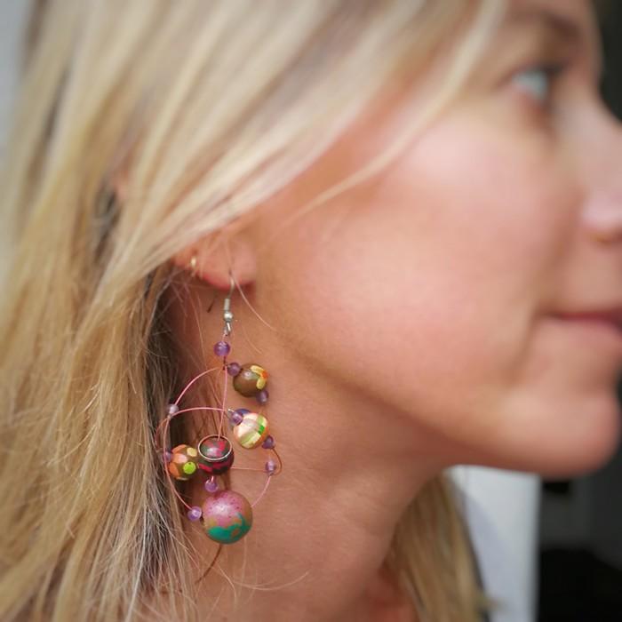 Round purple earrings