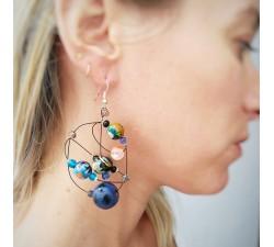 Boucles d'oreilles rondes bleu foncé