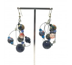 Earrings Round dark blue earrings Babachic by Moodywood