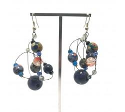 Round dark blue earrings