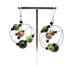 Round dark green earrings