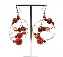 Boucles d'oreilles Boucles d'oreilles rondes rouge intense Babachic by Moodywood