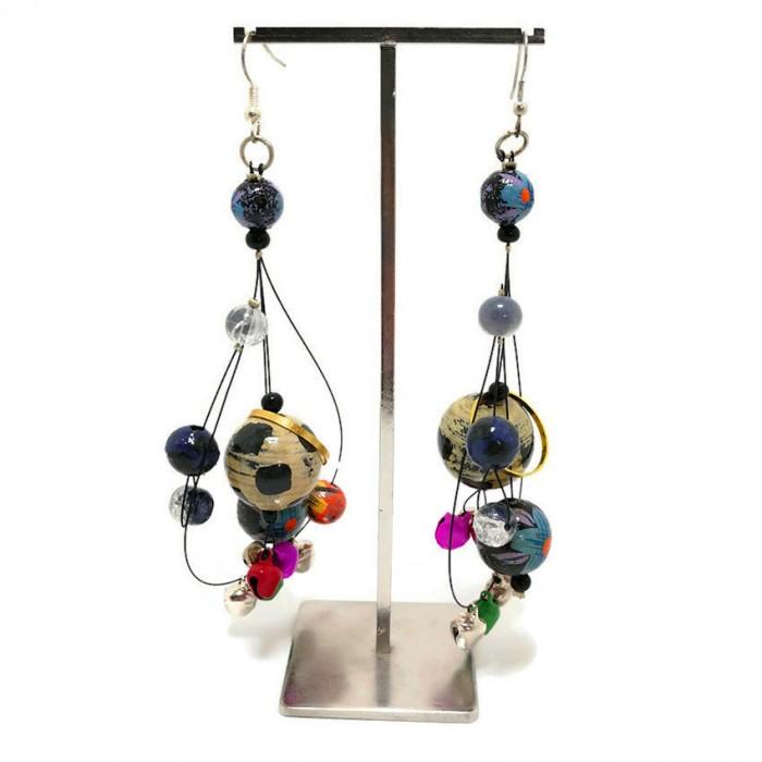 Blue long earrings with little bells