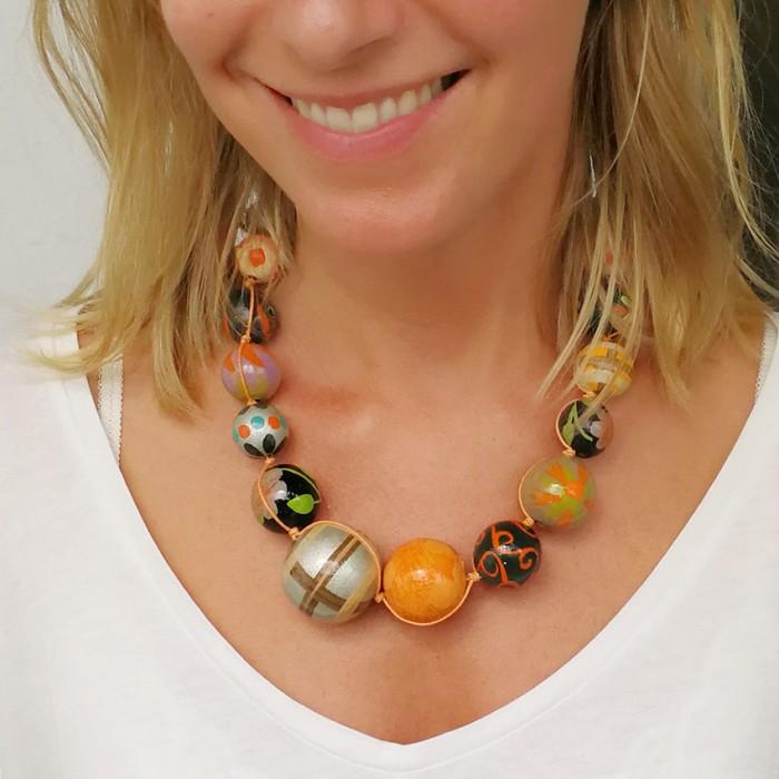 Orange brown wooden beads necklace