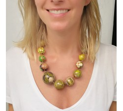 Necklaces Khaki wooden beads necklace Babachic by Moodywood