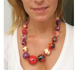 Collares Collar de bolas de madera rojo y morado Babachic by Moodywood