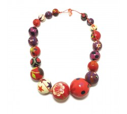 Necklaces Red and purple wooden beads necklace Babachic by Moodywood