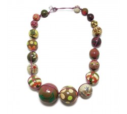 Necklaces copy of Red and purple wooden beads necklace Babachic by Moodywood