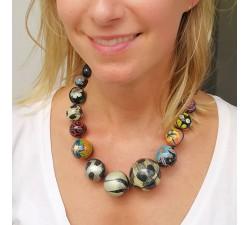 Collares Collar de bolas de madera negro y azul Babachic by Moodywood