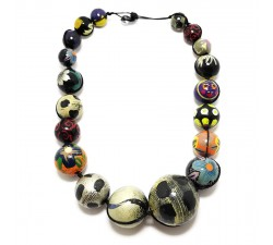 Necklaces Black and blue wooden beads necklace Babachic by Moodywood