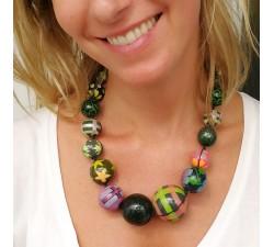 Collares Collar de bolas de madera verde oscuro Babachic by Moodywood