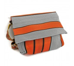Handbags Orange and black small flap handbag Babachic by Moodywood