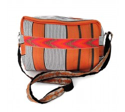 Handbags Orange and black oval toilet pouch bag Babachic by Moodywood