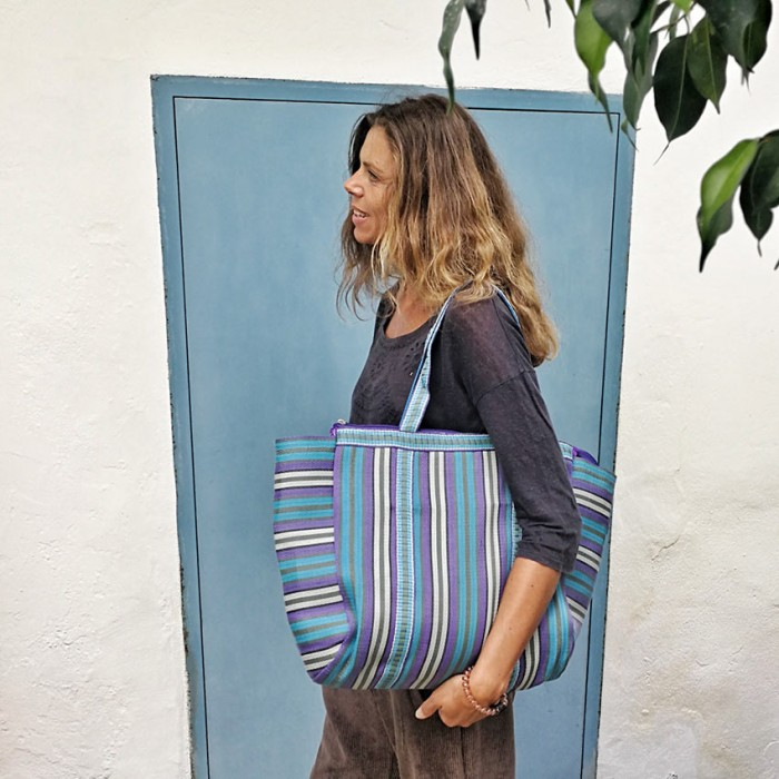 Blue and purple simple tote bag