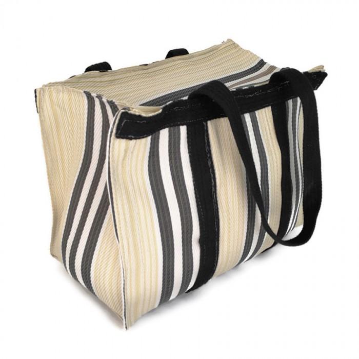 Pale yellow and black handbag or small storage bag