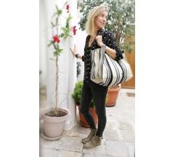 XXL bags Sac cabas ou sac de rangement moyen format jaune pâle et noir Babachic by Moodywood