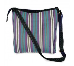 Blue and purple bag with long handle.