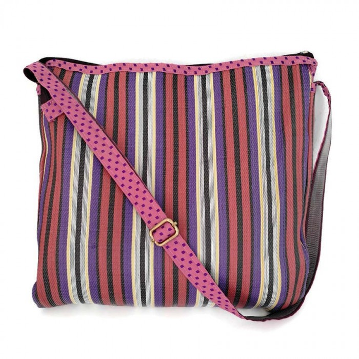 Plum and purple bag with long handle.