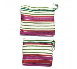 Cases Duo of simple pockets with zip, green and pink Babachic by Moodywood