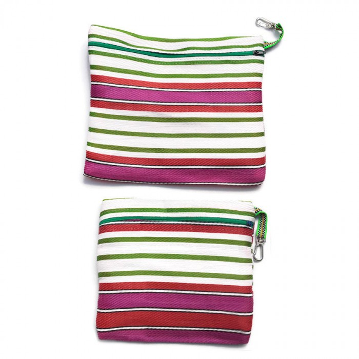 Duo of simple pockets with zip, green and pink